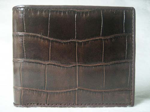 Genuine Belly Crocodile Leather Wallet in Dark Brown Crocodile Leather #CRM444W-03
