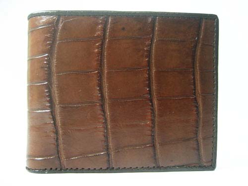 Genuine Belly Crocodile Leather Wallet in Brown Crocodile Leather #CRM444W-05
