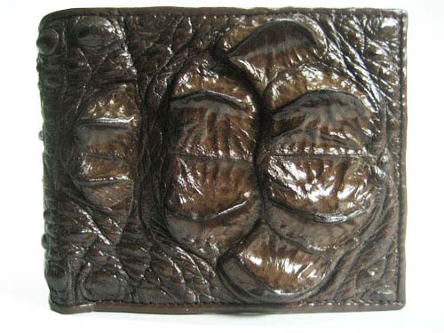 Genuine Hornback Crocodile Leather Wallet in Chocolate Brown Crocodile Leather #CRM446W-03