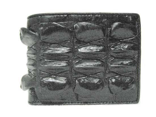 Genuine Tail Crocodile Leather Wallet in Black Crocodile Leather #CRM448W-04