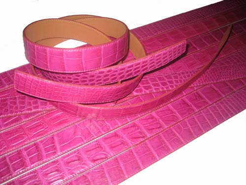 Genuine Belly Crocodile Belt in Pink Crocodile Leather  #CRM640B-01