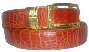 Genuine Belly Crocodile Belt in Light Brown(Tan) Crocodile Leather  #CRM640B-02