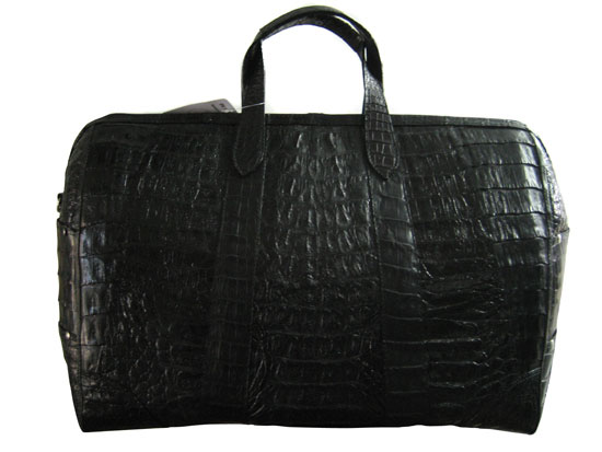 Genuine Hornback Crocodile Leather Luggage Bag in Black Crocodile Skin  #CRW418L-02