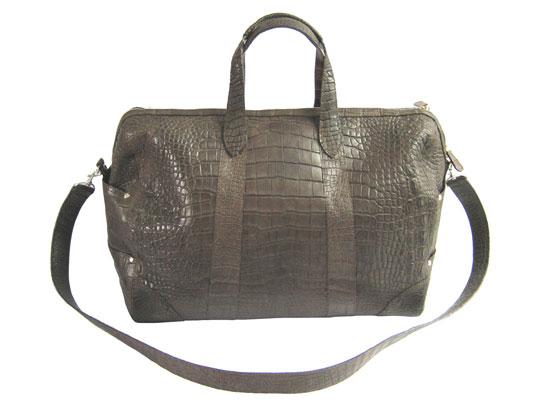 Genuine Belly Crocodile Leather Luggage Bag in Chocolate Brown Crocodile Skin  #CRM423L