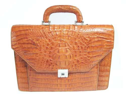 Genuine Crocodile Leather Briefcase in Light Brown(Tan) Crocodile Skin  #CRM424BR-02