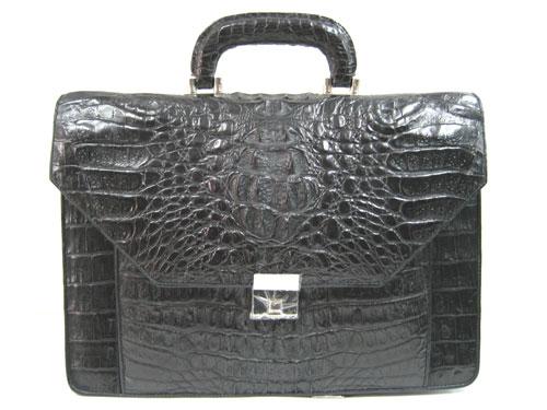 Genuine Crocodile Leather Briefcase in Black Crocodile Skin  #CRM424BR-03