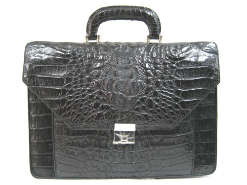 Genuine Crocodile Leather Briefcase in Black Crocodile Skin  #CRM424BR-03