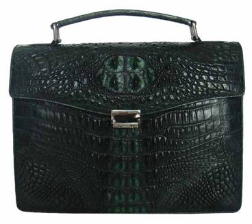 Genuine Crocodile Leather Briefcase in Green Crocodile Skin  #CRM425BR