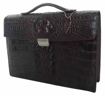 Genuine Crocodile Leather Briefcase in Chocolate Brown Crocodile Skin  #CRM426BR-01