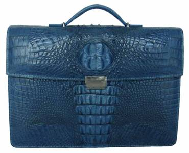 Genuine Crocodile Leather Briefcase in Blue Crocodile Skin  #CRM426BR-02