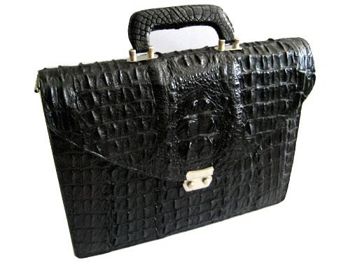Genuine Hornback Crocodile Leather Briefcase with Full Bone Back Crocodile Skin in Black Colour  #CRM429BR