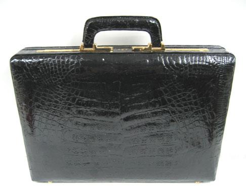 Genuine Belly Crocodile Leather Briefcase in Black Crocodile Skin  #CRM430BR