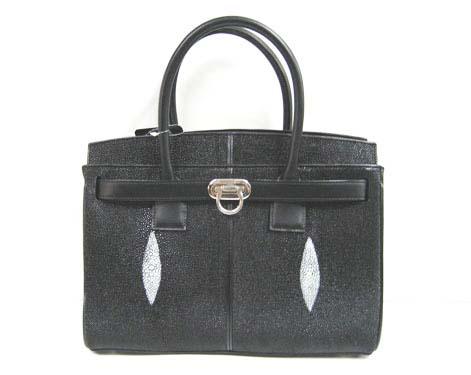 Genuine Stingray Leather Handbag in Black Stingray Skin  #STW362H