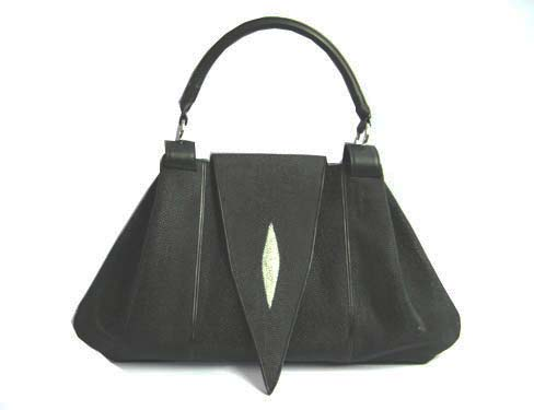 Genuine Stingray Leather Handbag in Black Stingray Skin  #STW363H