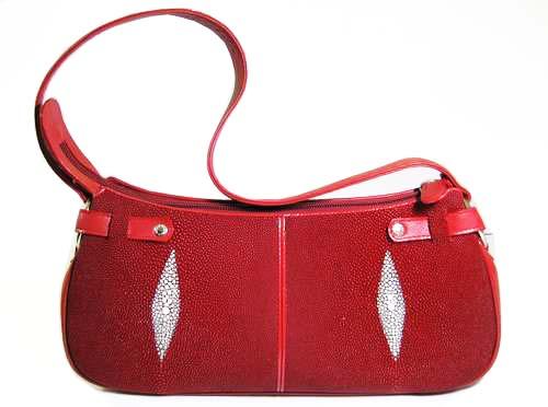 Genuine Stingray Leather Handbag in Burgundy Stingray Skin  #STW365H