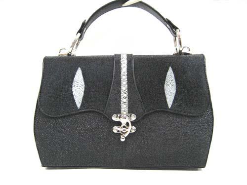 Genuine Stingray Leather Handbag in Black Stingray Skin  #STW367H