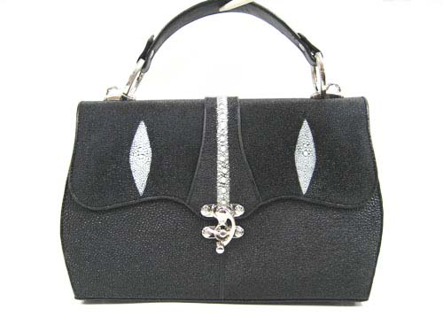 Genuine Stingray Leather Handbag in Black Stingray Skin  #STW367H
