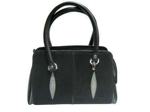 Genuine Stingray Leather Handbag in Black Stingray Skin  #STW368H