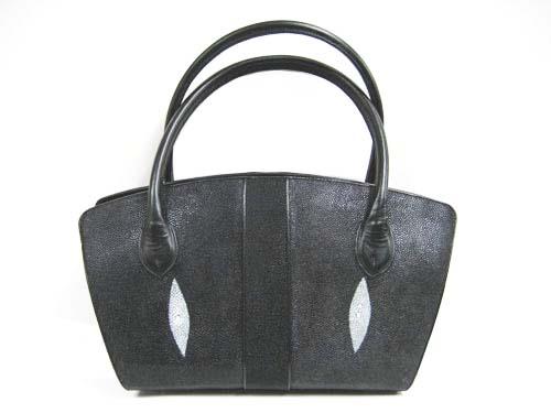 Genuine Stingray Leather Handbag in Black Stingray Skin  #STW370H