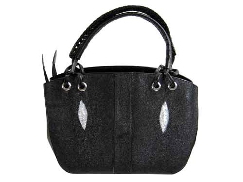 Genuine Stingray Leather Handbag in Black Stingray Skin  #STW371H