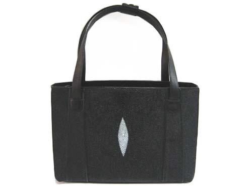 Genuine Stingray Leather Handbag in Black Stingray Skin  #STW372H