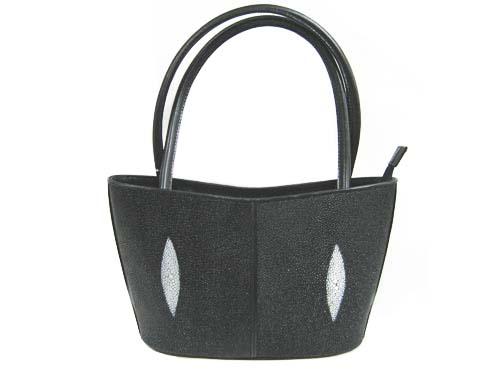 Genuine Stingray Leather Handbag in Black Stingray Skin  #STW373H