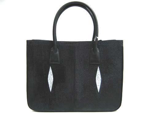 Genuine Stingray Leather Handbag in Black Stingray Skin  #STW374H