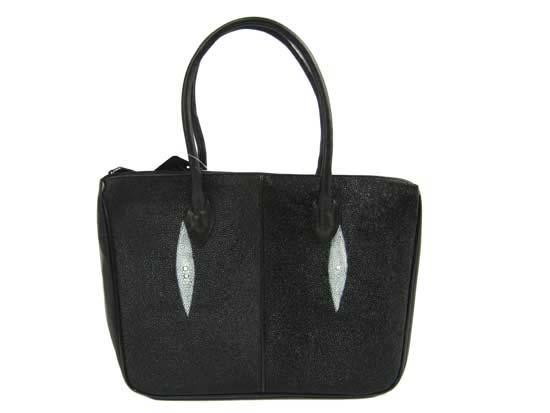 Genuine Stingray Leather Handbag in Black Stingray Skin  #STW375H