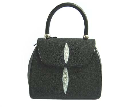 Genuine Stingray Leather Handbag in Black Stingray Skin  #STW376H