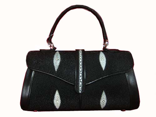 Genuine Stingray Leather Handbag in Black Stingray Skin  #STW379H