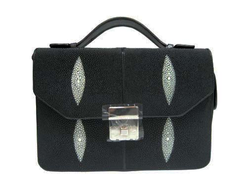 Genuine Stingray Leather Handbag in Black Stingray Skin  #STW381H