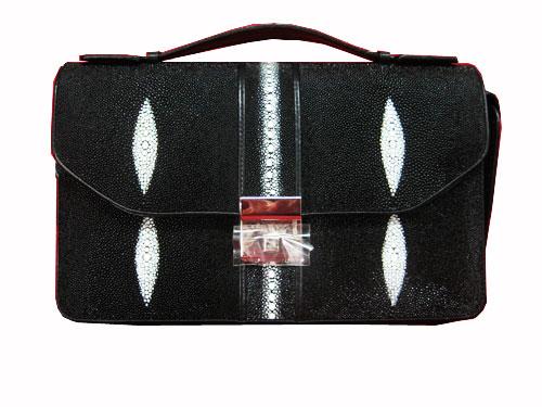 Genuine Stingray Leather Handbag in Black Stingray Skin  #STW382H