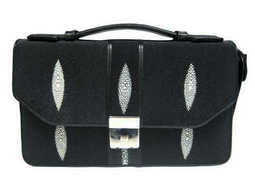 Genuine Stingray Leather Handbag in Black Stingray Skin  #STM380H