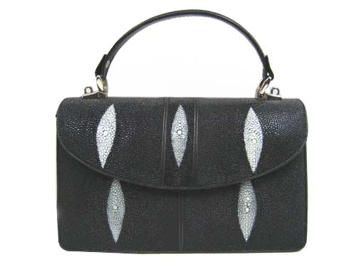 Genuine Stingray Leather Handbag in Black Stingray Skin  #STW383H