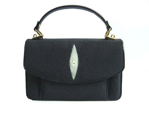 Genuine Stingray Leather Handbag in Black Stingray Skin  #STW384H