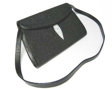 Genuine Stingray Leather Shoulder Bag in Black Stingray Skin  #STW387S