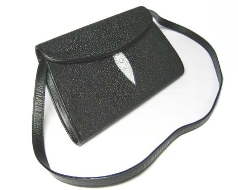 Genuine Stingray Leather Shoulder Bag in Black Stingray Skin  #STW387S