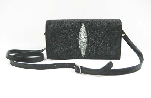 Genuine Stingray Leather Shoulder Bag in Black Stingray Skin  #STW388S