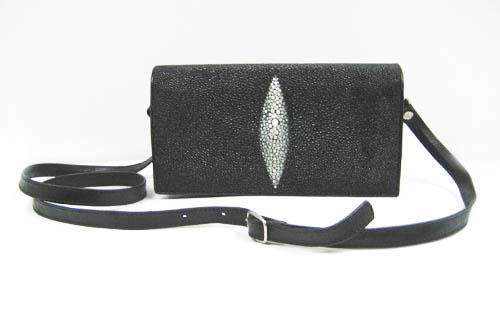 Genuine Stingray Leather Shoulder Bag in Black Stingray Skin  #STW388S