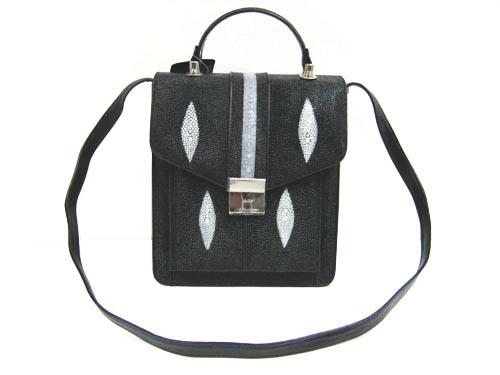 Genuine Stingray Leather Shoulder Bag in Black Stingray Skin  #STW390S