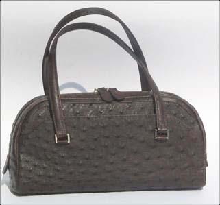 Genuine Ostrich Leather Handbag in Chocolate Brown Ostrich Skin  #OSW410H