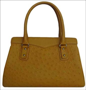 Genuine Ostrich Leather Handbag in Yellow-Brown Ostrich Skin  #OSW411H