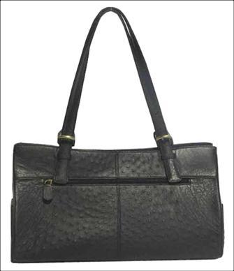Genuine Ostrich Leather Handbag in Black Ostrich Skin  #OSW414H