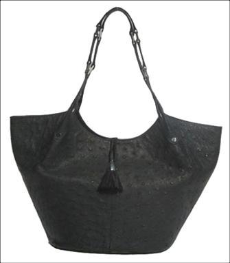 Genuine Ostrich Leather Handbag in Black Ostrich Skin  #OSW415H