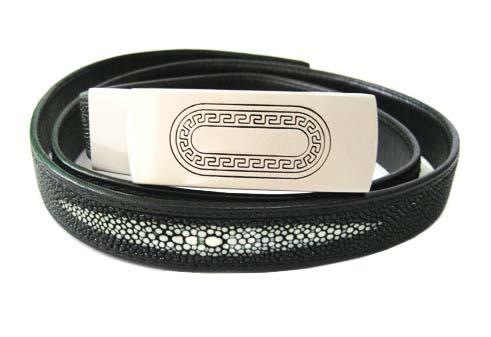 Ladies Stingray Leather Belt in Black Stingray Skin  #STM648B-01