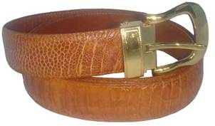 Genuine Leg Ostrich Leather Belt in Light Brown Ostrich Skin  #OSM657B-01
