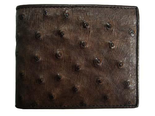 Genuine Ostrich Leather Wallet in Dark Brown Ostrich Skin  #OSM605W