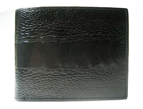 Genuine Leg Ostrich Leather Wallet in Black Ostrich Skin  #OSM611W
