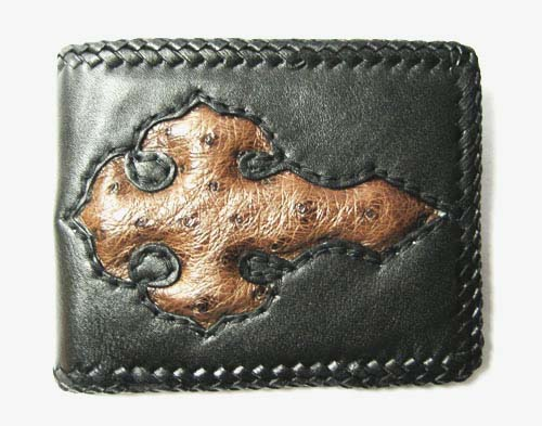 Handcrafted Ostrich Leather Wallet with Weave Style in Brown Ostrich Skin  #OSM614W-02