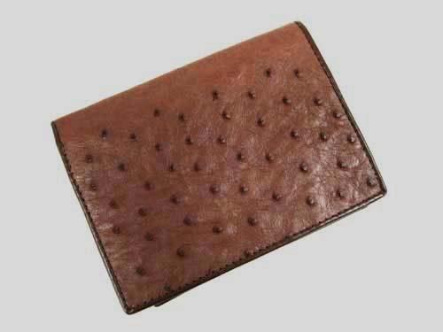 Genuine Ostrich Leather Wallet in Dark Brown Ostrich Skin  #OSM616W